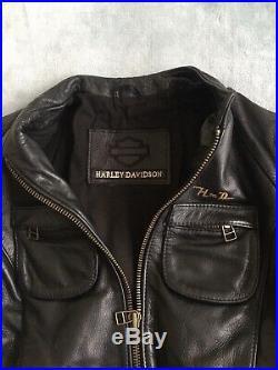 Genuine Harley Davidson Ladies Belted Hip Length Leather Jacket Size L