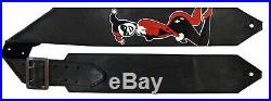 Handcrafted All Leather DC Comics Harley Quinn, Guitar Strap, Standard Length
