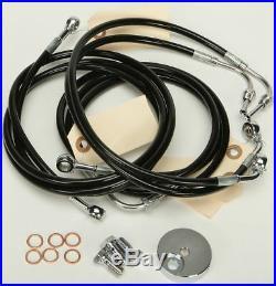 HardDrive Stock Length Braided Brakeline Kit For Harley Black HD-0500-BK
