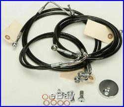 Harley 09-13 FLHT/FLHR withABS 4-Line Black Vinyl Brakeline Kit +6 Length