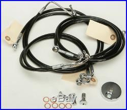 Harley 09-13 FLHT/FLHR withABS 4-Line Black Vinyl Brakeline Kit +8 Length
