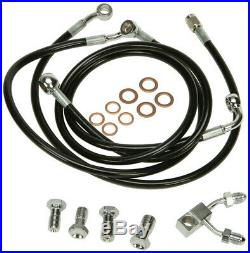 Harley 11-13 FL/FXS withABS Black Vinyl Brakeline Kit +4 Length