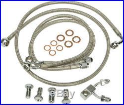 Harley 11-13 FL/FXS withABS Steel Braided Brakeline Kit +8 Length