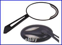 Harley Black Satin Turn Signal Mirror Set (2) 5.5 x 3 with 3.75 length stem