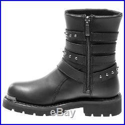 Harley Davidson Eddington Black Womens Leather Calf-length Zip-up Biker Boots