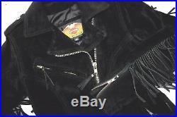 Harley Davidson HEAVY Fringe Suede Leather Jacket 3/4 Length w Belt USA NOS LG