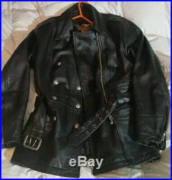 Harley Davidson WOMENS LARGE Vintage Heavy Leather Jacket Longer Length Belted