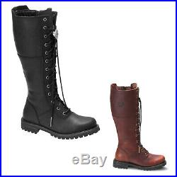 Harley Davidson Walfield Leather Casual Calf Length Zip-Up Lace-Up Womens Boots