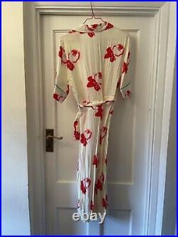 New Ganni Harley Crepe Cream & Red Floral Design Knee Length Wrap Dress, 42, UK14