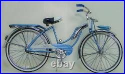 Rare Vintage Bicycle 1950s Girls Bike Cycle Metal Model Length 11.5 Inches