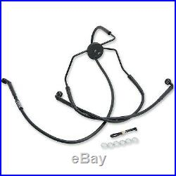 Russell R08780BC Extended Length Braided Front Brake Line Kit Harley-Davidso