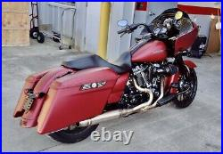 Sawicki 2 into 1 Brushed Mid Length Cannon Exhaust Harley M8 Touring 17-Up