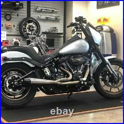 Sawicki 2 into 1 Raw Full Length Pipe Black Tip Exhaust Harley Softail M8 18-Up