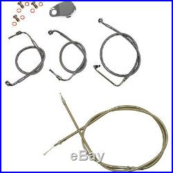 Stainless Braided Kit Cables Kits for 08-13 Harley FLH/T WithO ABS Stock Length