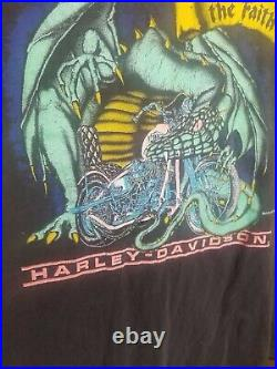 VTG Harley Davidson Graphic TShirt Blk Dragon Design Chest 21 Length 29 No Tag